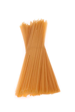 Uncooked spaghetti isolated on white