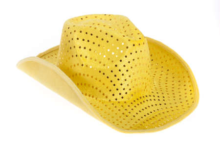 Yellow cowboy hat isolated on white