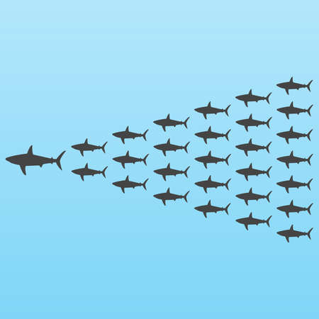 Sharks, leadership concept Vector