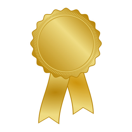 gold award rosette with ribbon Vector