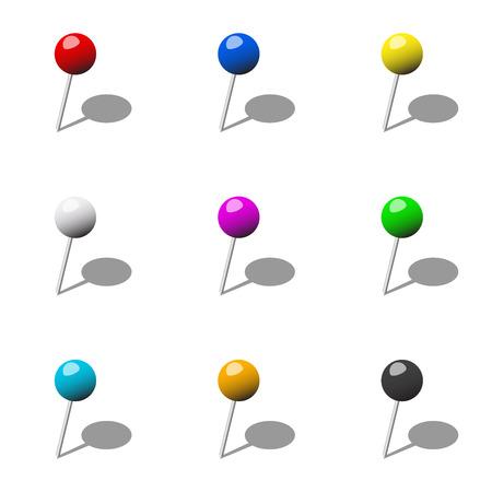 pushpins: chinchetas diversos Vectores
