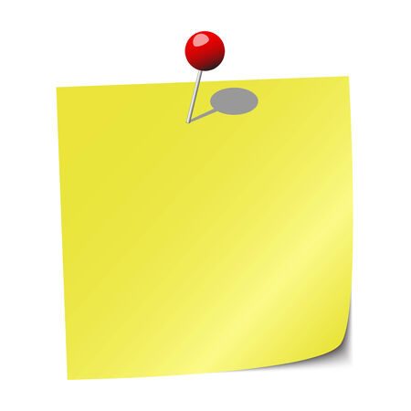 yellow sticky note with red pushpin Vector