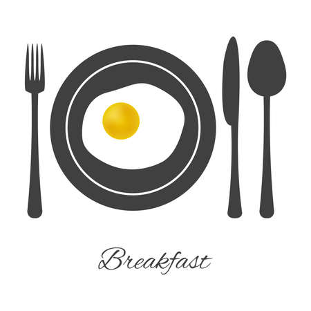 fried egg: breakfast illustration with tableware and fried egg