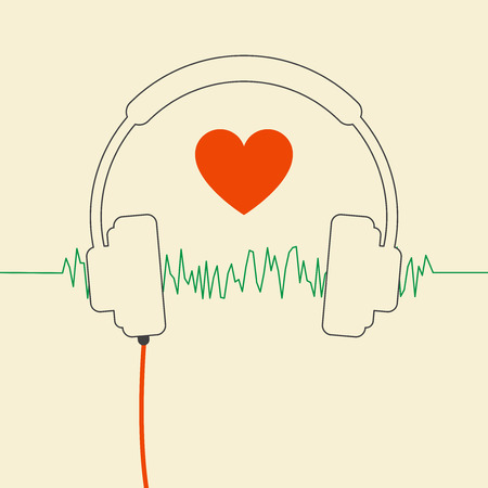wired headphones with heart and sound wave