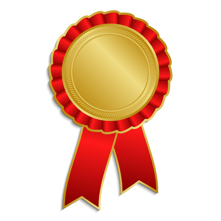 Goud en rode award rozet met lint Stock Illustratie