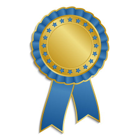 Gold and blue rosette with ribbon