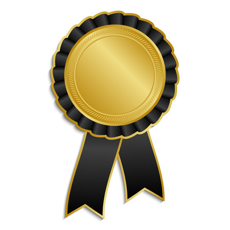 Gold and black award rosette with ribbon Vector