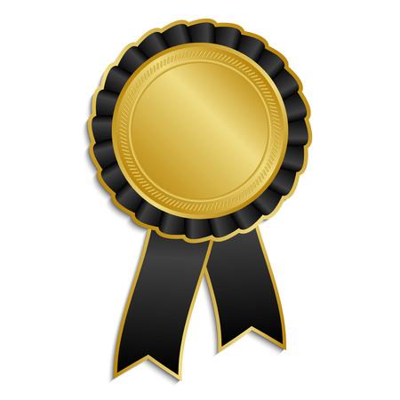 Gold and black award rosette with ribbon Ilustração