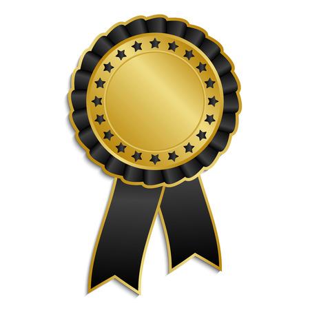 Gold and black award rosette with ribbon Illustration