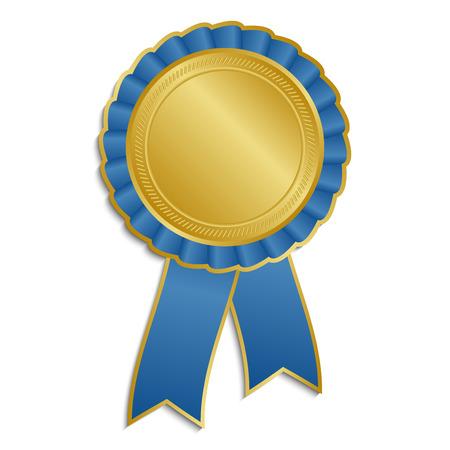 Or et la rosette bleu avec ruban Banque d'images - 35479281