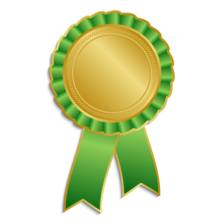 Gold and green award rosette with ribbon Vector