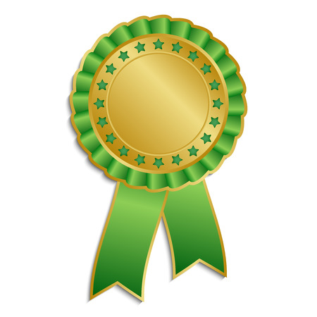 hallmark: Gold and green award rosette with ribbon Illustration