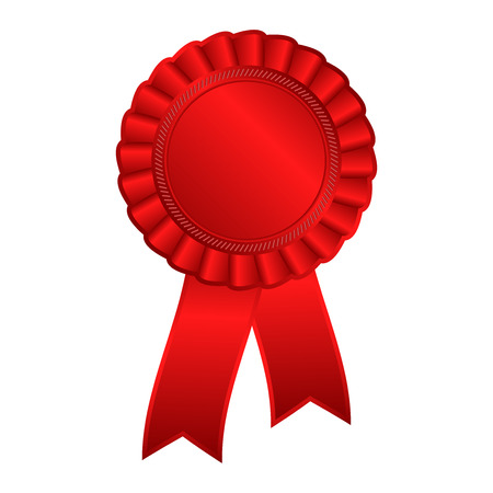 qualify: Red blank award rosette with ribbon