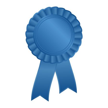 Blue blank award rosette with ribbon Vettoriali