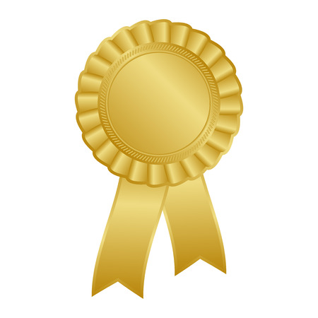 Gold blank award rosette with ribbon
