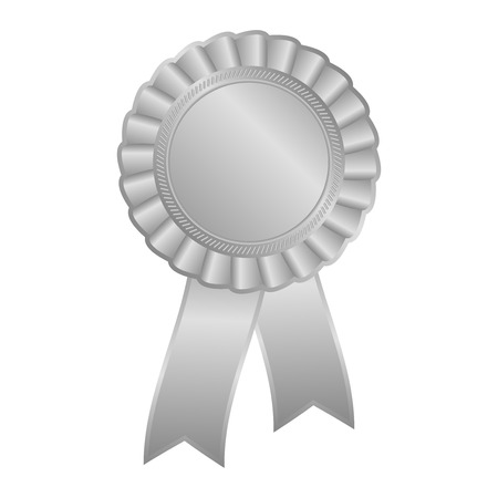 Silver grey blank award rosette with ribbon