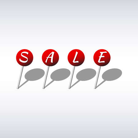 pushpins: Sale design template red pushpins with letters Illustration