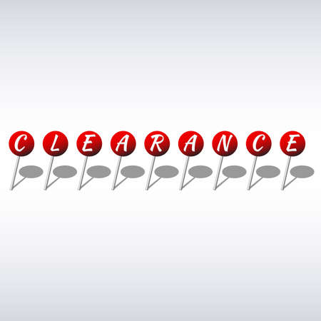 Clearance design template red pushpins with letters Vector