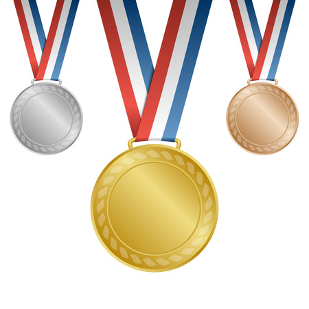 Gold silver bronze blank award medals with ribbons Vectores
