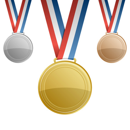 bronze medal: Gold silver bronze blank award medals with ribbons Illustration
