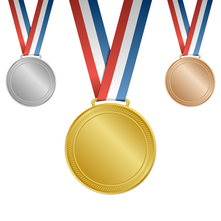 Gold silver bronze blank award medals with ribbons Иллюстрация