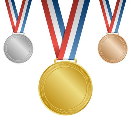 Or Argent Bronze vierges des médailles avec rubans Banque d'images - 39984324