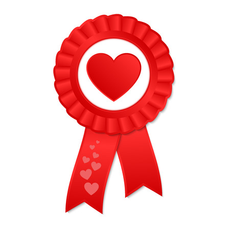 Red award rosette with ribbon and heart Иллюстрация