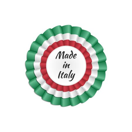hallmark: Made in Italy rosette with Italian flags colors Illustration