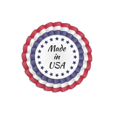 Made in USA rosette with USA flags colors