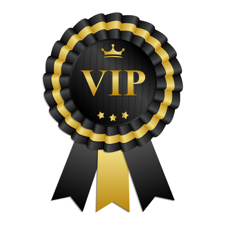 qualify: VIP black and gold rosette with ribbon