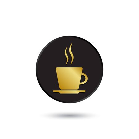 simple logo: Simple gold on black coffee cup icon logo