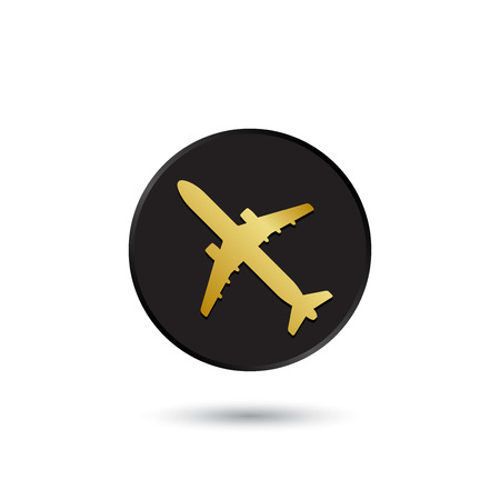 Simple gold on black airplane icon logo Vector