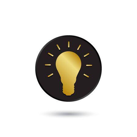 black light: Simple gold on black light bulb icon