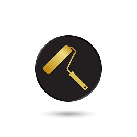 roller brush: Oro simple en el icono cepillo giratorio negro