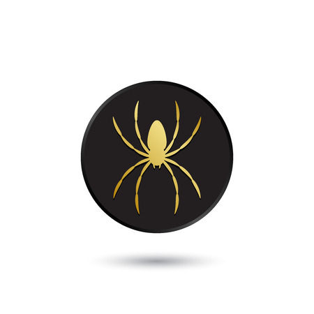 Simple gold on black spider icon logo Vector