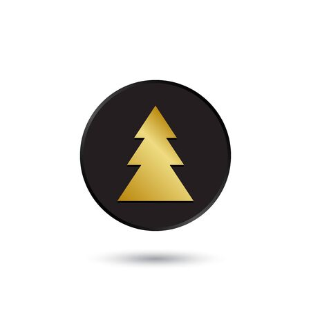 Simple gold on black fir tree icon  Vector