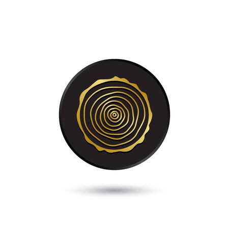 Simple gold on black log tree rings icon Vector
