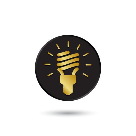 fluorescent lamp: Simple gold on black fluorescent lamp icon