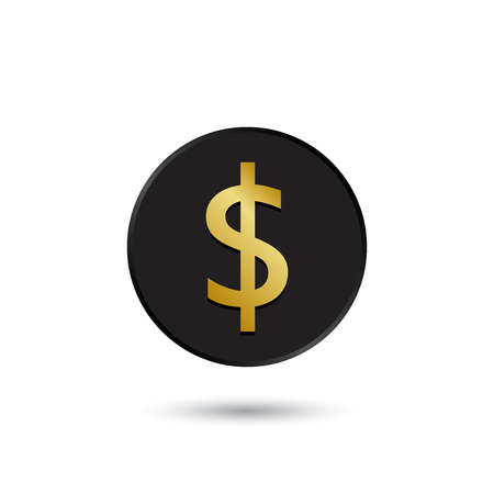 australian money: Simple gold on black dollar icon