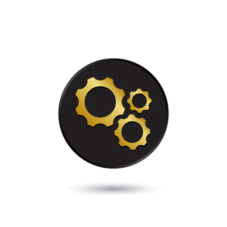 maschine: Simple gold on black different size gears icon