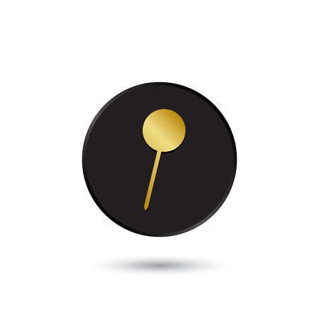 Simple gold on black pushpin icon  Vector