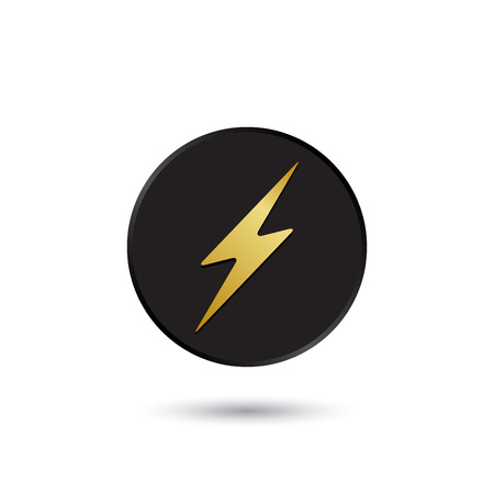 Simple gold on black lightning icon  Vector