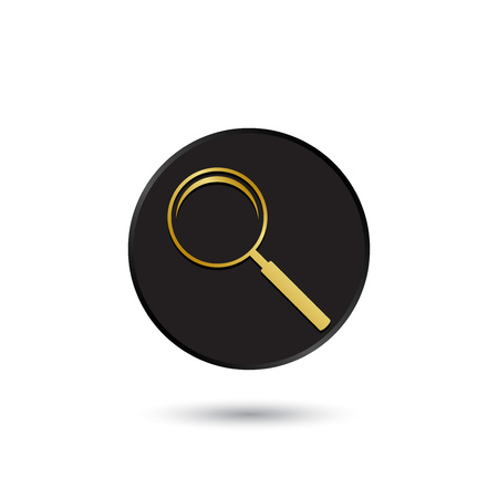 simple logo: Simple gold on black magnifying glass icon logo Illustration