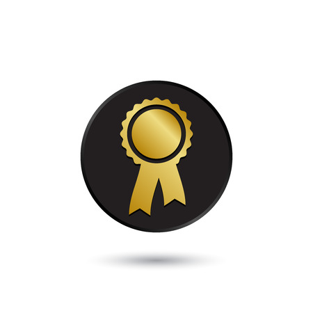 simple logo: Simple gold on black rosette with ribbon icon logo