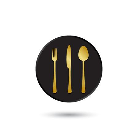 Eenvoudige goud op zwart tafelgerei pictogram logo