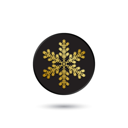 Simple gold on black snowflake icon  Vector