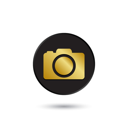 Simple gold on black photo camera icon logo Vector