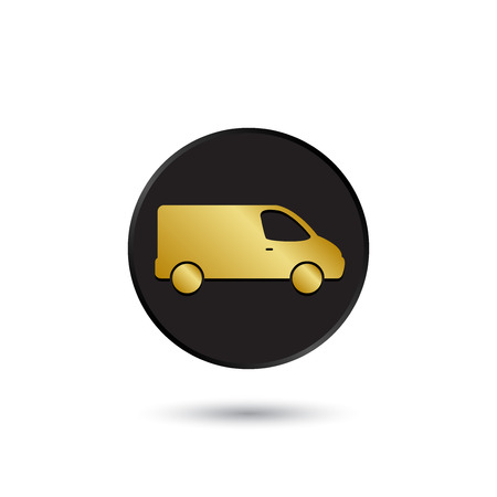 Simple gold on black delivery van icon  Vettoriali