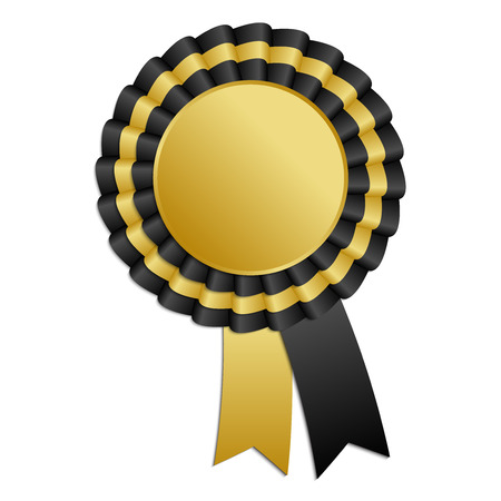 Gold and black blank award rosette with ribbon