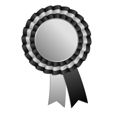 qualify: Silver and black blank award rosette with ribbon Illustration